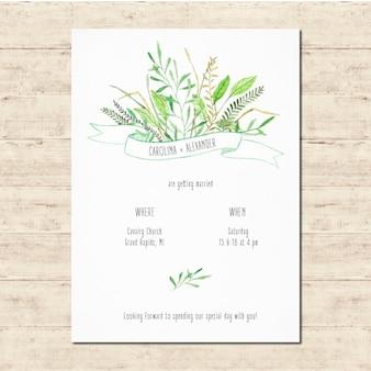 Linda invitación de boda con elementos florales