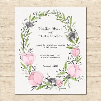Linda invitación de boda con un marco floral