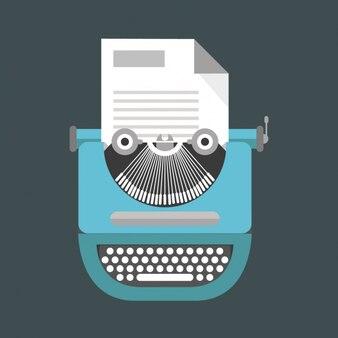 Linda máquina de escribir azul