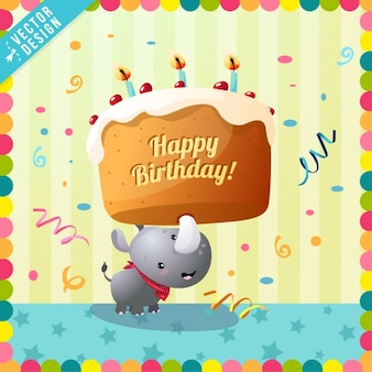 Linda tarjeta de cumpleaños con un rinoceronte
