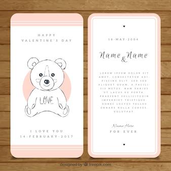 Linda tarjeta de san valentín con boceto de peluche