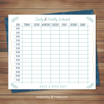 4 week work schedule template