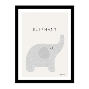 Lindo elefante en un marco negro