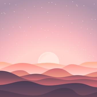 Lindo paisaje con atardecer