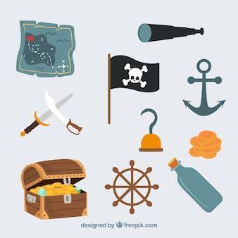 Lindo pirata iconos conjunto de vectores