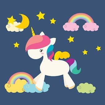 Lindo unicornio, vector arco iris