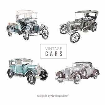 Lindos coches vintage de acuarela en estilo elegante
