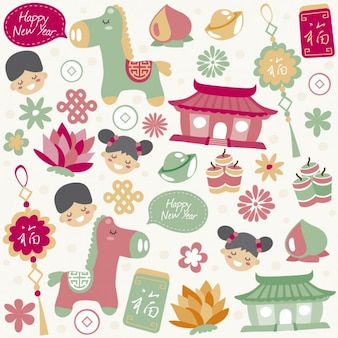 Lindos elementos chinos de año nuevo
