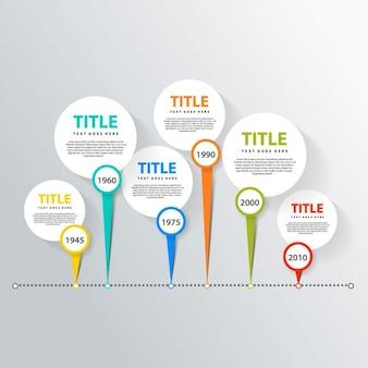 Línea de tiempo con seis coloridas opciones