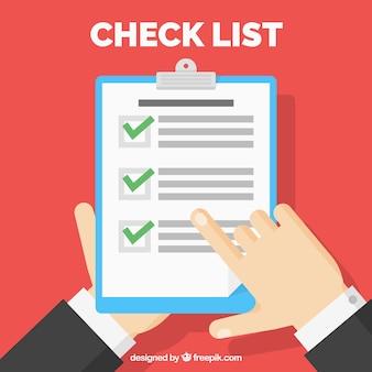 Lista de verificación en diseño plano