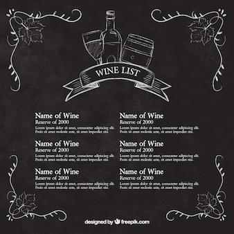Lista de vino de bocetos en pizarra