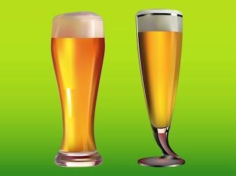 Llena las copas de cerveza bebidas frías