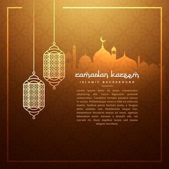 Lámparas que cuelgan del festival ramadan con la silueta de mezquita
