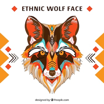 Lobo Étnico con colores cálidos