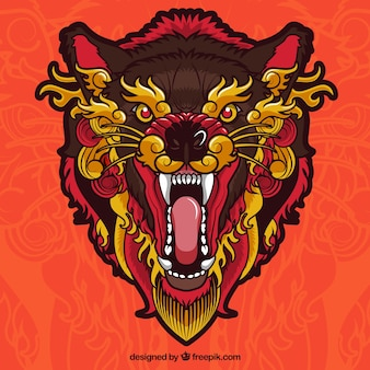 Lobo Étnico enfadado