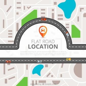 Localización en carretera vista desde arriba