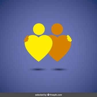 Logo abstracto con dos corazones amigos