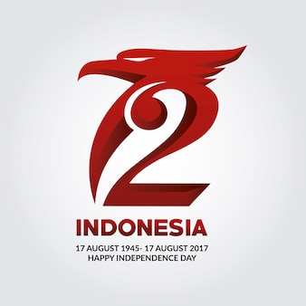 Logo con diseño de la independencia de indonesia