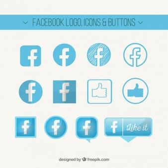 Logo de facebook, iconos y botones