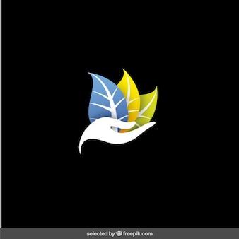 Logo de manos con tres hojas