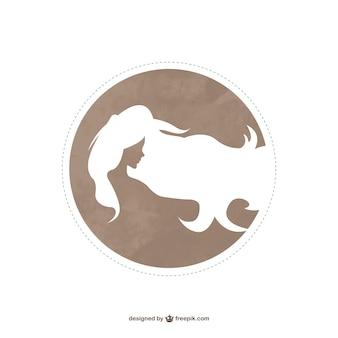 Logo de moda con perfil de mujer