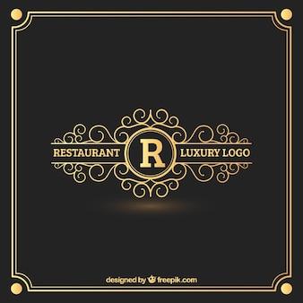 Logo de restaurante dorado