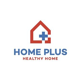 Logo de salud con diseño de casa
