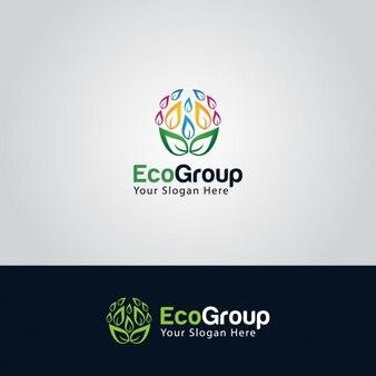 Logo ecológico con hojas de colores