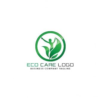 Logo ecológico de círculo con hojas