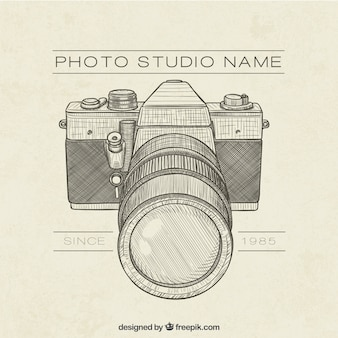 Logo retro dibujado a mano de estudio de fotos retro