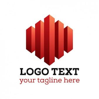 Logo rojo abstracto en 3d