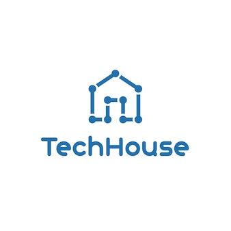 Logo tecnológico con diseño de casa