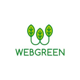 Logo verde de la letra W del Web