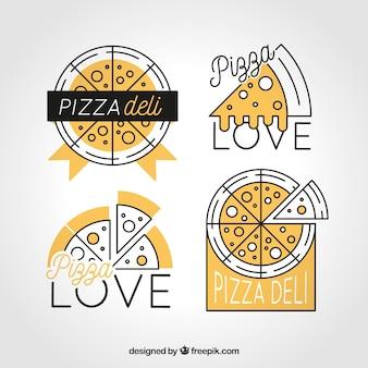 Logos amarillos de pizza