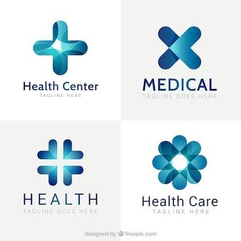 Logos azules modernos de centros médicos