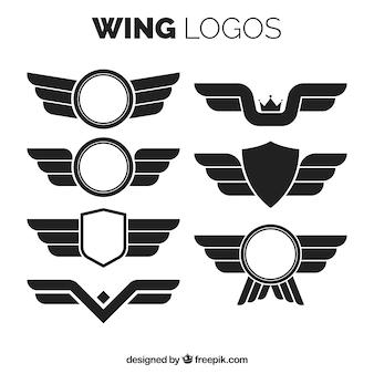 Logos de alas en diseño plano