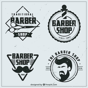Logos de barbería planos vintage