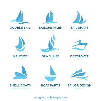 Logos de barcos azules en estilo abstracto
