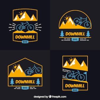 Logos de bicis de montaña con diseño plano