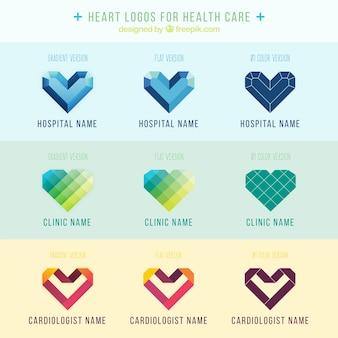Logos de corazón para atención médica