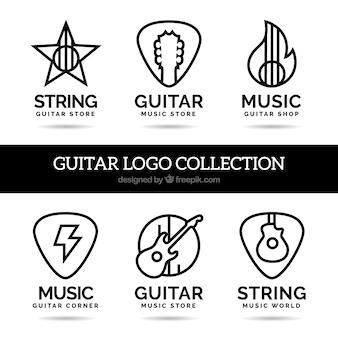 Logos de guitarras en estilo lineal
