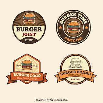Logos de hamburguesas decorativos en estilo retro