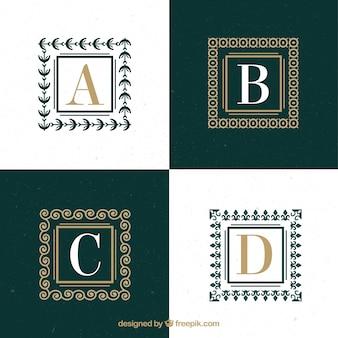 Logos de letras mayúsculas con cuadrados ornamentales