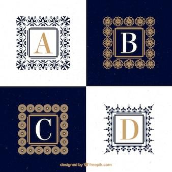 Logos de letras mayúsculas ornamentales con marcos