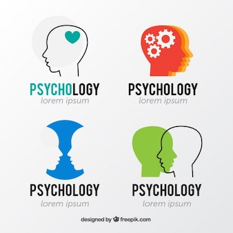 Logos de psicología con siluetas de cabezas