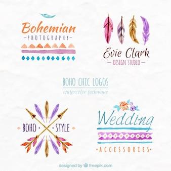 Logos en acuarela de estilo boho