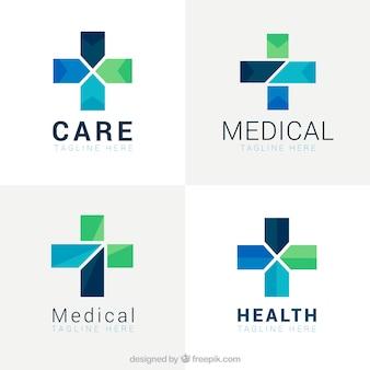 Logos médicos de cruz geométrica