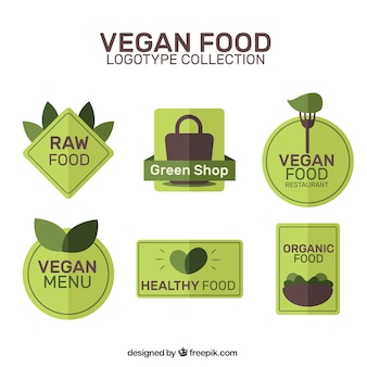 Logos verdes de restaurante vegano