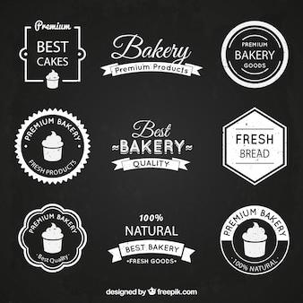 Logos vintage de panadería en un estilo plano