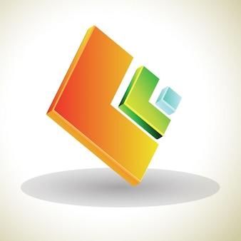 Logotipo 3d con cuadrados
